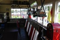 The interior of the still operational GWR signal box at Llanuwchllyn in September 2016. These days the levers and block instruments control movements on the narrow gauge tracks of the Bala Lake Railway. The box is open to the public on the strict understanding that you 'Do not touch!'<br><br>[Mark Bartlett&nbsp;17/09/2016]