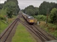 Bet the trees weren't that lush in steam days. But the class 31 in original butterscotch livery looks very 'sixties'. View looks North, from the road overbridge.<br><br>[Ken Strachan&nbsp;10/09/2016]