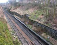 The remains of Craiglockhart station (closed September 1962) on the Edinburgh suburban line, seen on 23 February 2002. View is south east from Colinton Road looking towards Morningside Road.   <br><br>[John Furnevel&nbsp;23/02/2002]