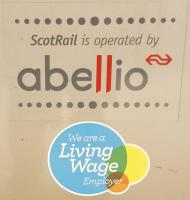 In March, Abellio ScotRail became the sixth largest living wage employer, entitling use of the logo seen here as a door decal.<br><br>[John Yellowlees&nbsp;01/11/2016]