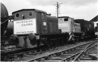 0-4-0 DM shunters parked outside Aviemore shed in March 1977. Nearest the camera is Hudswell Clarke AM no.147 and the other is a Ruston. Both had worked at Caldwell's Paper Mill at Inverkeithing prior to coming to the Strathspey Railway in the early 1970s.<br><br>[John McIntyre&nbsp;/04/1977]