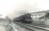 A Kilmarnock stopping train approaching Strathbungo Junction on 16 May 1961. The locomotive is Black 5 4-6-0 no 45010. [Ref query 156]<br><br>[G H Robin collection by courtesy of the Mitchell Library, Glasgow&nbsp;16/05/1961]