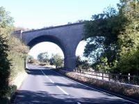 The impressive skew arch viaduct that once carried the Border Counties line over the A6079 a quarter of a mile south of Chollerton station, seen here in November 2007. [Ref query 178].<br><br>[John Furnevel&nbsp;05/11/2007]