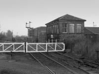 Cambus Junction signalbox looking east.  Trains for Menstrie continued to Alloa New Yard for loco rounding. The box closed on the 20th of December 1987.<br><br>[Bill Roberton&nbsp;//1987]