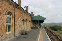 Looking northwards towards Ynyslas and Dovey Junction along the tidy single platform at Borth on 18th September 2016. [See image 56698] for the forecourt view of this splendid station building. <br><br>[Mark Bartlett&nbsp;18/09/2016]
