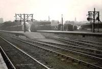 View over the north end of Buchanan Street station in the spring of 1949. Nearest the camera is Black 5 44704 preparing to leave with a train for Inverness, while over in platform 1 is 0-4-4T 55146.  <br><br>[G H Robin collection by courtesy of the Mitchell Library, Glasgow&nbsp;26/04/1949]