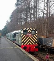 <I>All ready for Christmas...</I> Ex-BR class 03 DM D2094 at Milton of Crathes on 29 November 2016 complete with a 'Santa Special' headboard, with the RDRPS battery EMU standing beyond.<br><br>[Andy Furnevel&nbsp;29/11/2016]
