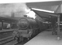 Jubilee 45593 <I>Kolhapur</I> shortly after arrival at Carlisle in 1966 with a train off the Settle & Carlisle route. In the background a BRCW Type 2 diesel waits in platform 7. <br><br>[K A Gray&nbsp;//1966]