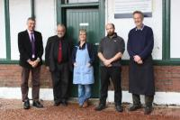 Rannoch photocall for comfort toilet scheme. In this Perth & Kinross Council photo here are Cllr Mike Williamson (purple tie), John Yellowlees, Jenny Anderson, Scott (black top) from the Moor of Rannoch Hotel and Bill Anderson (blue top) of the Rannoch Station Tearoom.<br><br>[John Yellowlees&nbsp;/11/2016]