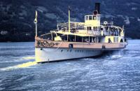 PS Lotschberg seen on Lake Brienz in July 1962. She dates from 1914 and was rebuilt in 1975 and restored during a boiler replacement completed in 2002.<br><br>[Colin Miller&nbsp;/07/1962]