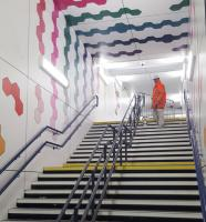 The painter is putting the finishing touches today to the spectacularly refurbished underpass linking Kilmarnock Station with the new Ayrshire College on the former Johnny Walker site. The official opening will be on 7 December.<br><br>[John Yellowlees&nbsp;02/12/2016]