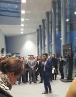 Edinburgh Gateway Station was officially opened by Transport Minister Humza Yousaf, seen speaking here at the opening ceremony, on the 9th of December 2016. Trains and trams will serve the station from the 11th of December.<br><br>[John Yellowlees&nbsp;09/12/2016]