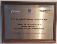 Plaque unveiled by Transport Minister Humza Yousaf at Edinburgh Gateway on the official opening date, 9th December.<br><br>[John Yellowlees&nbsp;09/12/2016]