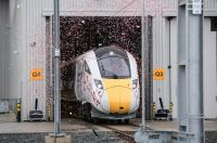 Hitachi Rail Europe celebrates the first Intercity Express (IEP) train to be built in the UK at its manufacturing facility in Newton Aycliffe, County Durham.<br><br> Courtesy Hitachi Rail Europe.<br><br>[Hitachi Rail Europe&nbsp;09/12/2016]