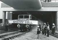 A 47 breaks a banner on the reopening of Snow Hill in 1987. The station had closed in 1972 being demolished in 1977.<br><br>[Ian Dinmore&nbsp;05/10/1987]