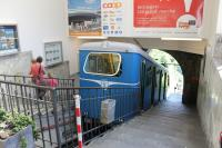 Funicular car No.2 standing in Orselina, the upper terminus of the Locarno Funicular. The scenic run down to the city centre passes through botanical gardens, over a high viaduct and through a tunnel.  <br><br>[Mark Bartlett&nbsp;24/06/2016]