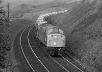 On Saturday 27th May 1972, I spent most of the day in the Enterkinfoot/Carronbridge area on the G&SW main line, which was busy with diverted WCML trains, the Annandale route being closed, at least during the day, while electrification works were carried out. In the early afternoon, an EE Type 4 approaches the overbridge just north of Drumlanrig Tunnel carrying the minor road between the A76 at Enterkinfoot and the A702. The train is probably 4M31 (the correct discs are being displayed for a class 4 train), the 11:10 SO from Johnstone to either Manchester or Garforth. Unfortunately, my notes for the day have not surfaced so I cannot be certain of the loco's identity, but it might be No. 297 which belonged to the LMR's Preston Division (in effect Carlisle Diesel Depot) at that time. The loco looks as if it has been through works very recently and has had the gangway doors plated over, so I'm hopeful that a class 40 aficionado out there will be able to make a positive identification.<br><br>[Bill Jamieson&nbsp;27/05/1972]