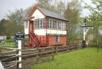 The signal box at Alston station on a quiet spring morning in 2006, seen looking north west from the level crossing. <br><br>[John Furnevel&nbsp;11/05/2006]