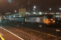 UKRL's 56098 'Lost Boys 68-88' waits at Preston with two barrier coaches in the evening of 07 December 2016 whilst returning to Leicester from a trip to Glasgow Works. The loco was carrying a headboard 'Rail Operations Group'.<br><br>[John McIntyre&nbsp;07/12/2016]