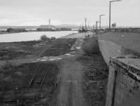 Disused and partly lifted lines serving the south side of Carron Dock, Grangemouth in 1987. The dock was called New Dock, no longer appropriate when the later Western Cut and Grange Dock opened.<br><br>[Bill Roberton&nbsp;//1987]