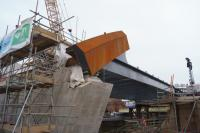 The girders of the bridge over the River Irwell are in place and a small part of the sweeping curved support is in place when viewed on 15 December 2016. <br><br>[John McIntyre&nbsp;15/12/2016]