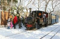 A seasonal scene at Delph on the West Lancs Light Railway on 18 December 2010 as passengers wait in the snow to see Santa.<br><br>[John McIntyre&nbsp;18/12/2010]