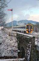 In early 1991 a northbound service leaves Dunkeld.<br><br>[Ewan Crawford&nbsp;//1991]