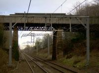 The current overbridge carrying Muirhead Road over the recently electrified R & C at Baillieston. Test borings have been carried out in preparation for a planned replacement. <br><br>[Colin McDonald&nbsp;21/12/2016]