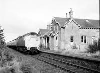 27108 Eastbound Orbliston Station 1137 hours. Orbliston, at that time, still retained its original construction.<br><br>[Peter Todd&nbsp;15/10/1980]