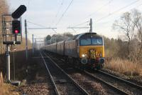 Northern Belle approaching Gartcosh on 13/12/2016 with 57301 in charge with 57302 on the rear. This was a Xmas lunch special from Glasgow Central to Ardlui.<br><br>[Alastair McLellan&nbsp;13/12/2016]