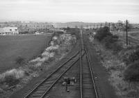 Looking north at Smeaton Junction in 1978 towards Whitecraig.  The Carberry Colliery branch diverged to the right beyond here.<br><br>[Bill Roberton&nbsp;//1978]