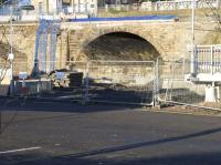 A squinty bridge, and an optical illusion caused by the angled stonework - the arch seemingly leading into the station carpark.  The track actually runs from the left of the picture towards the arch. Photo taken a few days before it was due to be demolished as part of the preparation for electrification. <br><br>[Colin McDonald&nbsp;04/01/2017]