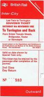 BR souvenir ticket for the last train to Torrington, Saturday 6 November 1982. [See image 12884]<br><br>[Ian Dinmore&nbsp;06/11/1982]