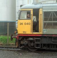 Cab of 26040 at the James Watt Dock during shunting of molasses in 1989.<br><br>[Ewan Crawford&nbsp;//1989]