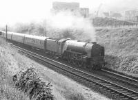 A1 Pacific 60121 <I>Silurian</I> passing Langlee on a southbound train shortly after leaving Galashiels in 1964. [Ref query 432]<br><br>[Dougie Squance (Courtesy Bruce McCartney)&nbsp;//1964]