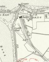 Small extract from a map dated c1910 showing the simple layout of the recently opened Knott End station. In addition to the station itself there is a Goods Shed and a Carriage Shed. The small building at right angles to the latter is <I>Station House</I> [see image 57696]. The fields to the east of the railway have since been completely built over and most of the railway land has been given over to car parking. Reproduced with the permission of the National Library of Scotland http://maps.nls.uk/index.html<br><br>[Mark Bartlett&nbsp;//1910]