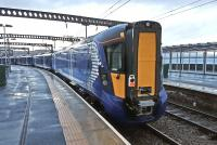 New ScotRail Class 385 electric multiple units can be regularly seen  at Gourock where they are currently being tested overnight. Photograph taken on 9 January 2017. (Pictures are also in <a target=external href=Inverclydenow.com>Inverclydenow.com</a>)<br><br>[Brian Thompson&nbsp;09/01/2017]
