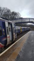 One train in each direction daily between Edinburgh and Inverness is worked by a pair of Class 158s, and they pass at Pitlochry.<br><br>[John Yellowlees&nbsp;06/01/2017]