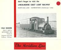 Poster advertising the Lincolnshire Coast Light Railway in 1963. The 2ft narrow gauge railway had been constructed in 1958 using track and equipment from the former Nocton Potato Estate Railway. It was based at Humberstone, near Cleethorpes and operated until 1985.     <br><br>[Ian Dinmore&nbsp;//1963]