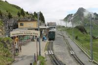 The summit station at Schynige Platte (6520'), with veteran electric No.61 <I>Enzian</I> waiting in the platform prior to descending again to Wilderswill. From this station there are views across to the Eiger, Mönch and Jungfrau mountain range.<br><br>[Mark Bartlett&nbsp;21/06/2016]