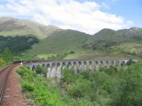 Glenfinnan Viaduct from the rear of the afternoon Jacobite to Mallaig on 3rd June 2016.<br><br>[David Spaven&nbsp;03/06/2016]