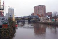 Looking south along the River Irwell on 10 January 2017, with the new bridge over the river for the Ordsall Chord in the middle distance.<br><br>[John McIntyre&nbsp;10/01/2017]