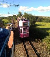 Trams for Colyton (left) and Seaton (right) crossing on the delightfully rural Seaton Tramway in the summer of 2016. [see image 53409]<br><br>[Ken Strachan&nbsp;26/08/2016]