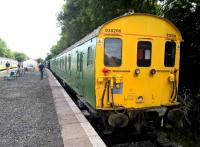 Coach 930206 is one of eight vehicles of the class 416 EMU which are preserved at Finmere. [see image 56782] It may look ready for traffic, but they'd have to clear out the interior first. Oh, and install a third rail and power. View looks South.<br><br>[Ken Strachan&nbsp;13/08/2016]