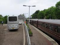 Bus-rail integration at Arisaig on 11th June 2016 - but only for particularly well-off rail passengers.<br><br>[David Spaven&nbsp;11/06/2016]