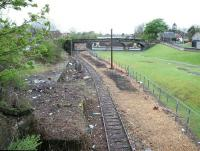 Looking west towards the site of the original Alloa station in April 2005, with the location of the proposed new station behind the camera on the other side of the bridge [see image 4088]. <br><br>[John Furnevel&nbsp;07/04/2005]
