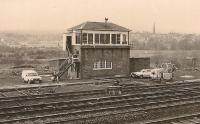 The signal box at the south end of Dalry station in 1984. The town can be seen behind the box, the station was off to the right and Dalry Junction is far off to the left. The box was originally Dalry Station, until 1906, and then became Dalry No2. Closure came in 1986 by which time No1 and No3 were already closed.<br><br>[Ewan Crawford Collection&nbsp;12/05/1984]