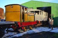 Ruston Hornsby no.4 (ex-North British Distillery, Edinburgh) shunts a 'shark' brake van at Kirkland Yard, the KFRPS site. All 14 January.  Thanks to Peter Westwater and the gang.<br><br>[Bill Roberton&nbsp;14/01/2017]