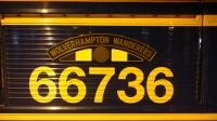 The nameplate of  class 66736 Wolverhampton Wanderers.<br><br>[Alan Cormack&nbsp;10/01/2017]