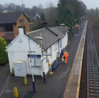 The diminutive station building at Thorntonhall, viewed from the road bridge. Thorntonhall is served by only alternate trains.<br><br>[John Yellowlees&nbsp;10/01/2017]